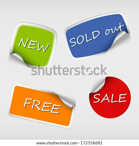 Set of colored stickers with bent corner - stock vector