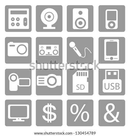 Set of colored stickers with multimedia icons - stock vector