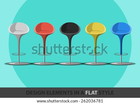 Set of colored stools in a flat style. Vector. Eps10 - stock vector