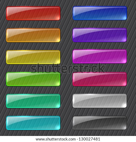 Set of colored transparent rectangle web buttons on dark background - stock vector