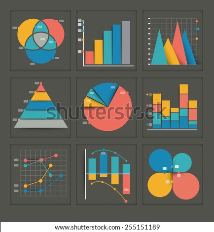 Set of colored vector business graphs in various designs showing a pyramid, pie chart, bar graph, overlapping circles, dots and interlocked depicting statistics, analysis, performance, and projections - stock vector
