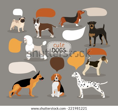 Set of colored vector dog breeds with empty speech bubbles featuring an alsation  pug  bloodhound  rottweiler  beagle  dalmation  poodle  fox terrier and pitbull - stock vector