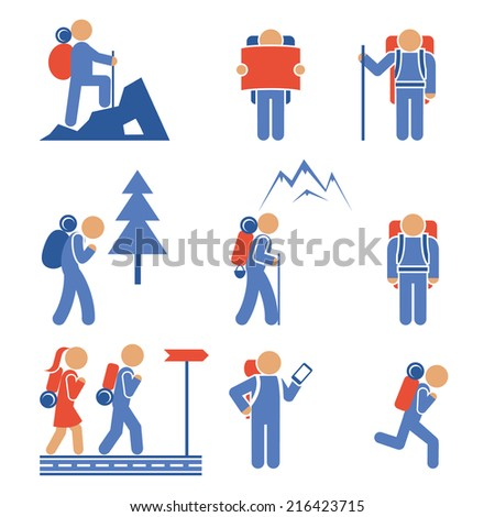 Set of colored vector hiking icons showing a mountaineer  backpacker  hiker  nordic walker  forest  mountain  frontal and side views - stock vector