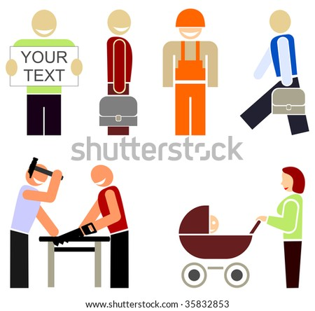 Set of colored vector icons - the people of different professions or occupations. Stylized color illustrations, design elements. Multicolor pictogram on white background. - stock vector