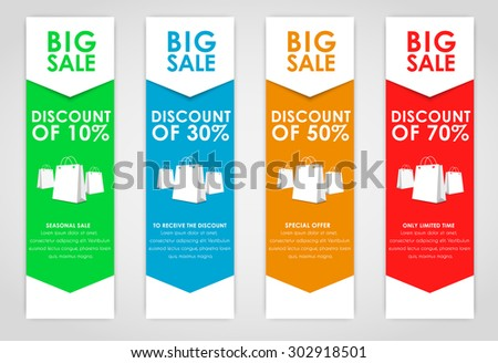 Set of colored vertical banners for sale with arrows. Elements of infographics for posting information. Vector illustration