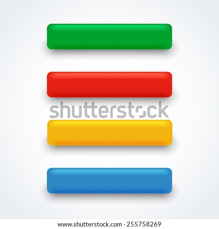 Set of colored volume 3d buttons, vector editable illustration. - stock vector