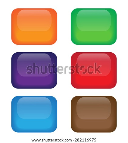 Set of colored web buttons on white background. Eps10.