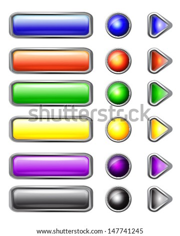 Set of colored web buttons on white background.Vector illustration - stock vector