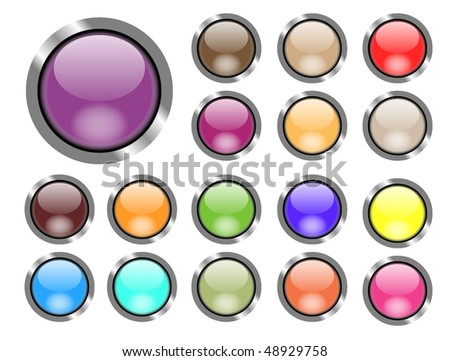 Set of colored web buttons. Vector illustration.