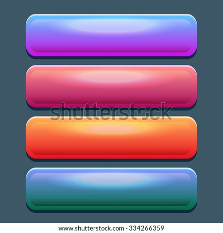 Set of colored web rectangle horizontal shiny banner buttons. Colorful glossy buttons for game design and interface - stock vector
