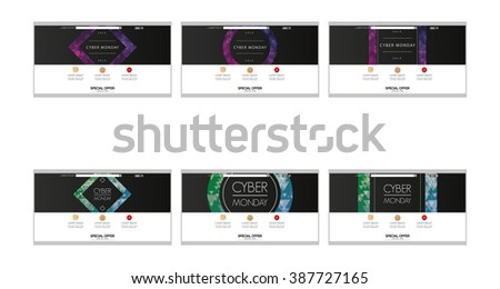 Set of colored web templates with cyber monday themes - stock vector