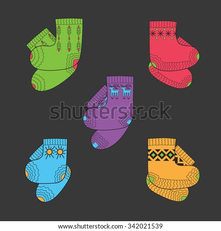 Set of colored wool socks for winter