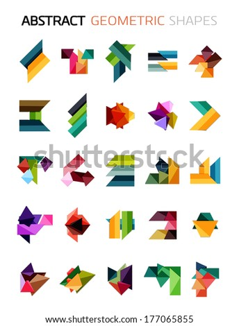 Set of colorful abstract geometric shapes isolated on white. For business designs, symbols, banners. - stock vector