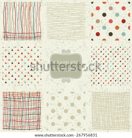 set of 8 colorful abstract seamless doodle patterns on shabby background - stock vector