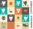 Set of colorful animal icons - stock