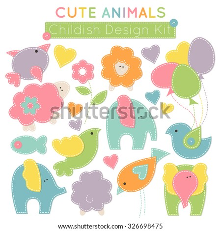 Set of colorful animals (baby birds, cute elephants, little lambs etc.) - design elements for babies (children's wear, decoration). Stylized applique with white seams. Vector illustration.  - stock vector