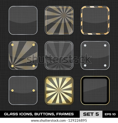 Set Of Colorful App Icon Frames, Templates, Buttons. Set 5. Vector - stock vector