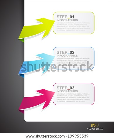 Set of colorful arrows. - stock vector