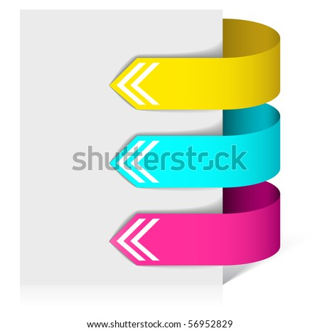 Set of colorful arrows pointing at the item - stock vector