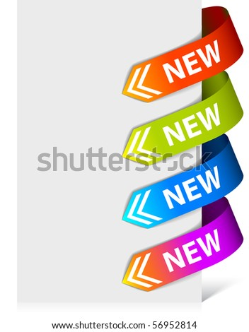 Set of colorful arrows pointing at the new item - stock vector