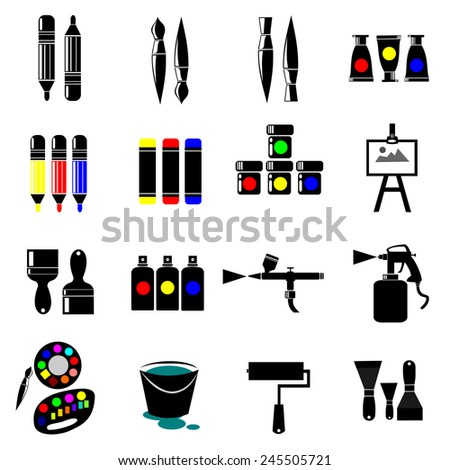set of colorful art icons.vector - stock vector