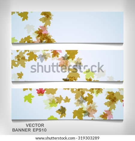Set of colorful autumn leaves banners, vector elegant  illustration