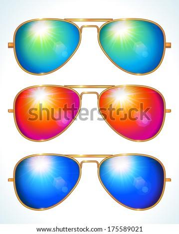 Set of colorful aviator shape sunglasses - vector illustration. - stock vector