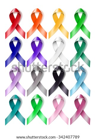 Set of colorful awareness ribbons isolated on white background. vector illustration - stock vector