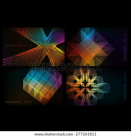 Set of colorful backgrounds glowing lines. eps10 - stock vector