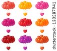 Set of colorful balloons bunches flying with valentine hearts. Eps10, contains transparencies. Vector - stock vector