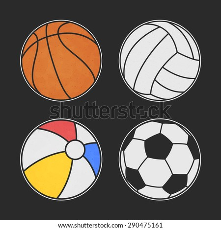Set of colorful balls.Football, basketball, volleyball. Beach ball. Vector. Colorful sport stickers.