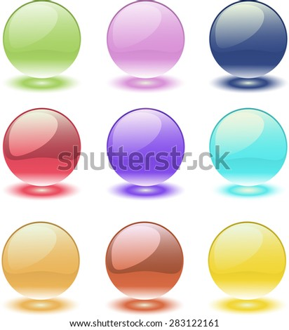 Set of colorful balls on white background.  glass spheres with shadows. - stock vector