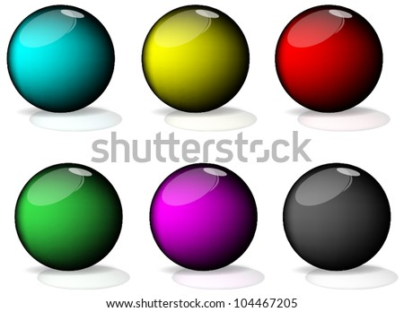 Set of colorful balls on white background, illustration - stock vector