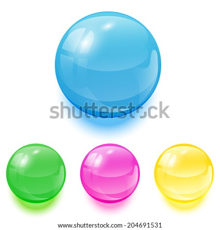 Set of colorful balls on white background, illustration. - stock vector