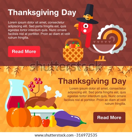 Set of colorful banners for thanksgiving day consists of traditional holiday symbols, Cartoon turkey, traditional meals and vegetables. - stock vector