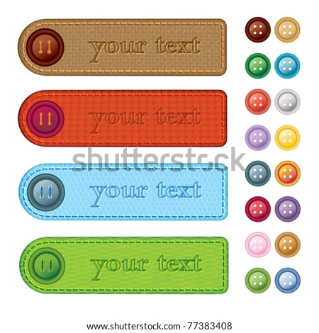 Set of colorful banners with different fibre structure and collection of sewing buttons - vector illustration - stock vector