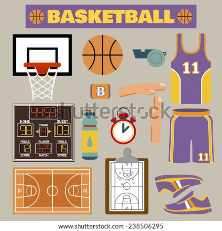Set of colorful basketball icons in flat style. Vector illustration with various sport symbols  - stock vector