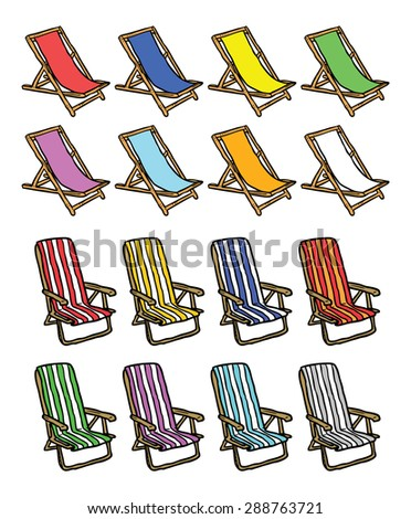 set of colorful beach chair - stock vector