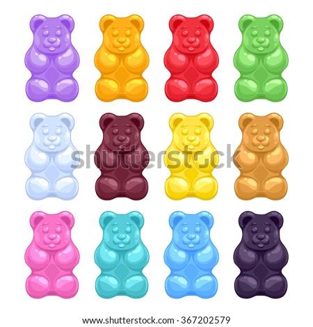 Set of colorful beautiful realistic jelly gummy bears. Sweet candy food. Strawberry vanilla caramel cola menthol lemon orange flavors. Vector illustration. - stock vector