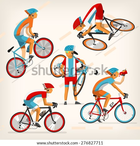 Set of colorful bicycle riders training for competition at cycling track - stock vector