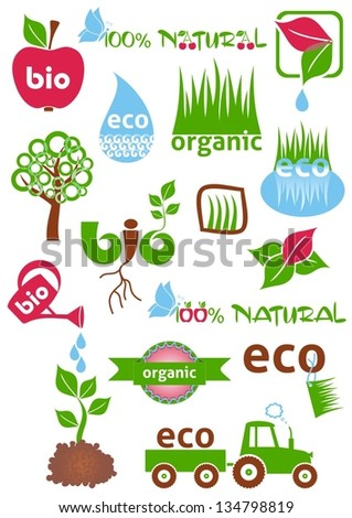 Set of colorful bio and eco icons and symbols