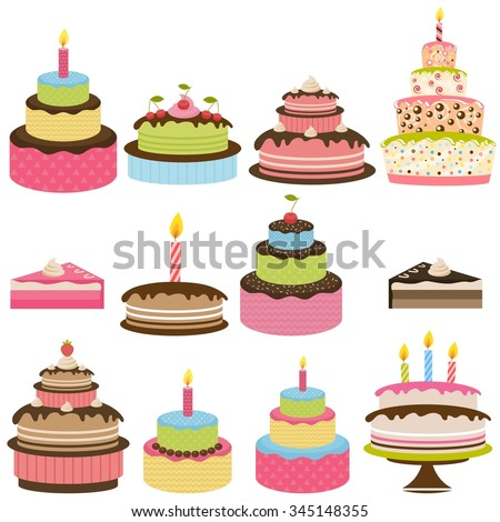 Set of colorful birthday cakes - stock vector