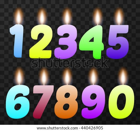 Set of colorful birthday candles. Isolated, vector, eps 10. - stock vector
