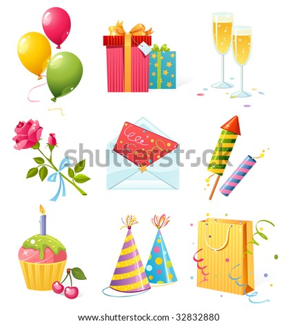 Set of colorful birthday icons