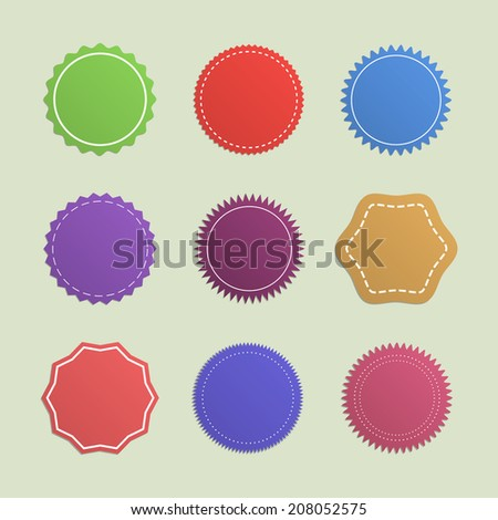 Set of colorful blank original price tags/labels. Different shape, outlines, ornaments. Isolated on white background. Vector illustration, eps 10.