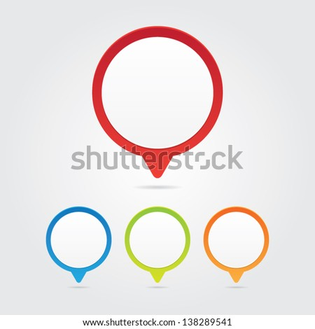 Set of Colorful Blank Pins - stock vector