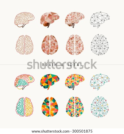 Set of colorful brains and ideas elements concept illustration. Ideal for app icons, infographic design and creative brochure. EPS10 vector file. - stock vector