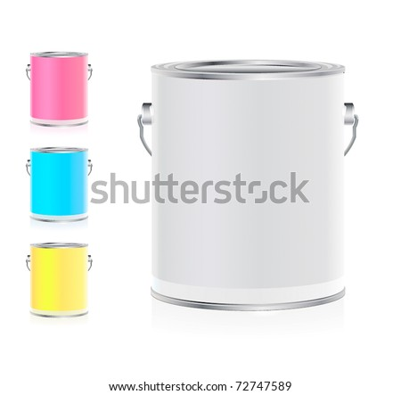 Set of colorful buckets - stock vector