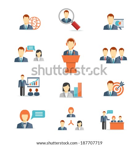 Set of colorful business people vector icons showing training  target  presentation  global  online  meetings  discussion  teamwork  analysis and graphs isolated on white - stock vector