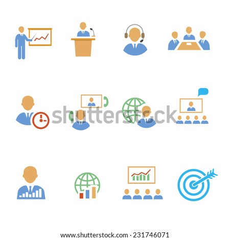 Set of colorful business people vector  strategic icons showing training  target  presentation  global  online  meetings  discussion  teamwork  analysis and graphs isolated on white - stock vector